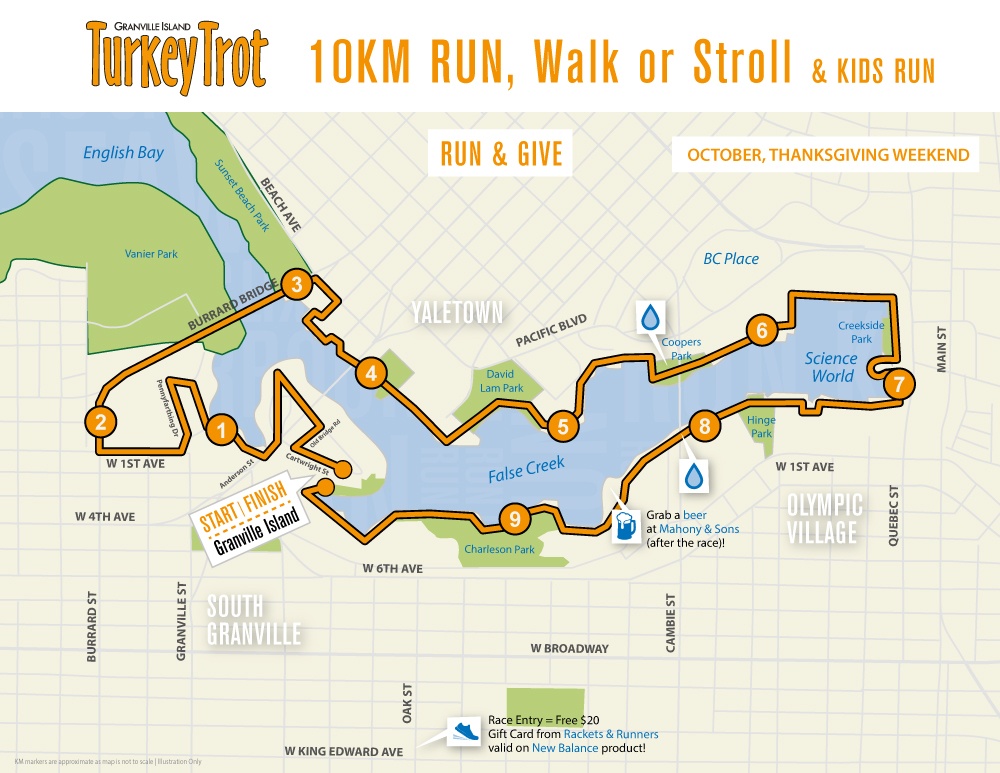 Granville Island Turkey Trot Course Map