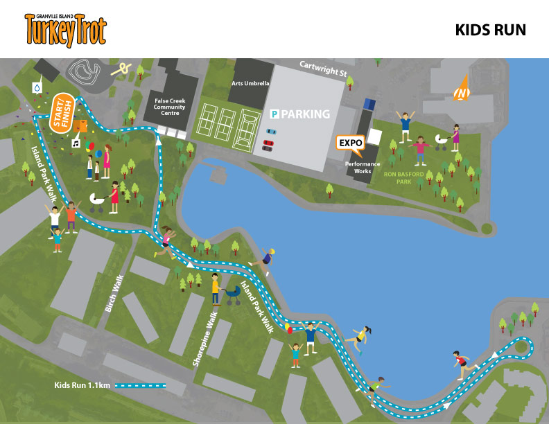Granville Island Turkey Trot Kids Run Course Map