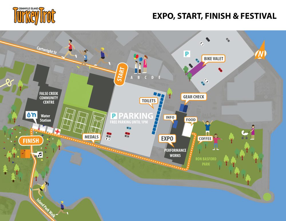 Granville Island Turkey Trot Start/Finish Map